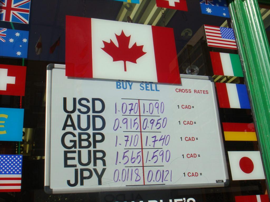 Board describing current exchange rates.