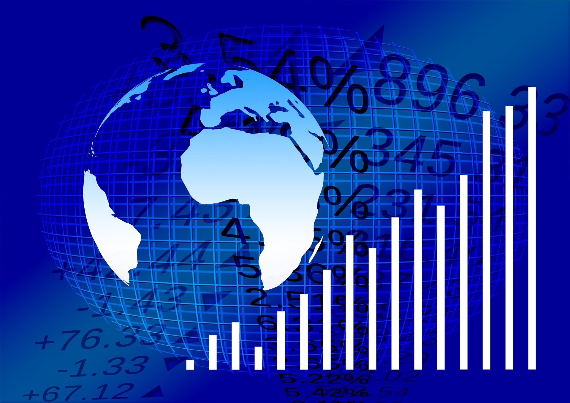 Stock photo of the globe and lines representing the stock market prices