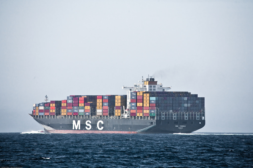 Large shipping container on the open waters.