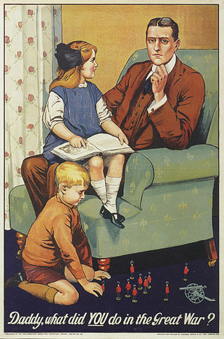 First World War recruiting poster, playing on the guilt of those who did not volunteer, by showing a little girl sitting on her daddy's lap and a boy playing with military figurines on the ground.