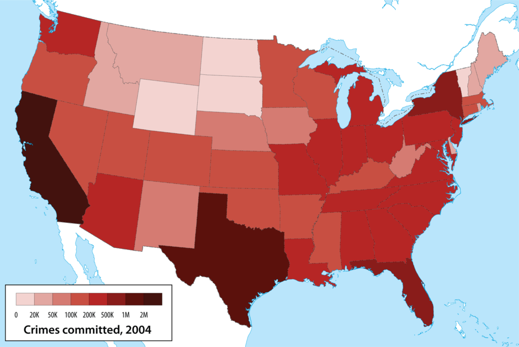 map of US showing number of crimes per state