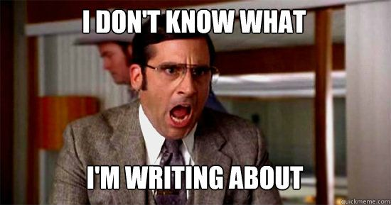 Meme: I don't know what I'm writing about!