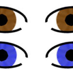 Two sets of eyes; one red and one blue