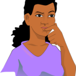 decorative graphic of a female student