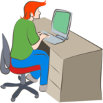 Student sitting at computer