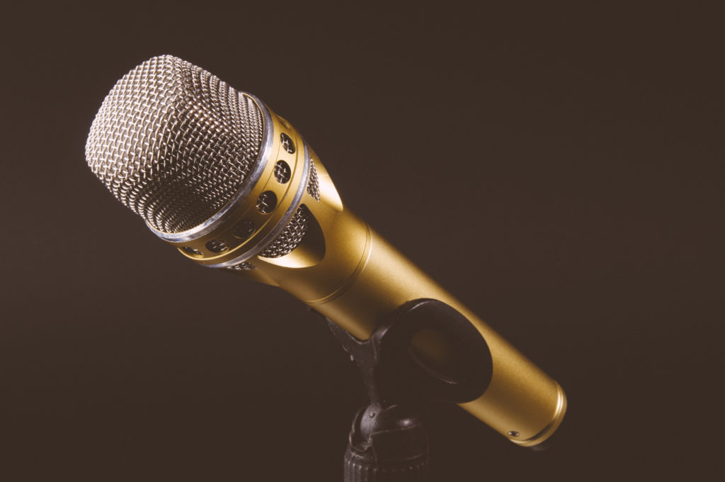 Gold microphone on a stand