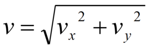 V is equal to the square root of v sub x squared plus v sub y squared