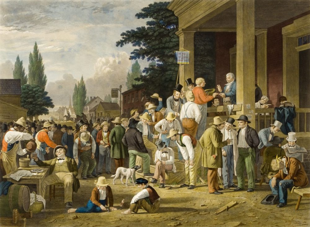 Painting of men fathering around discussing and voting outside of the town hall. Some drink, some kids play games.