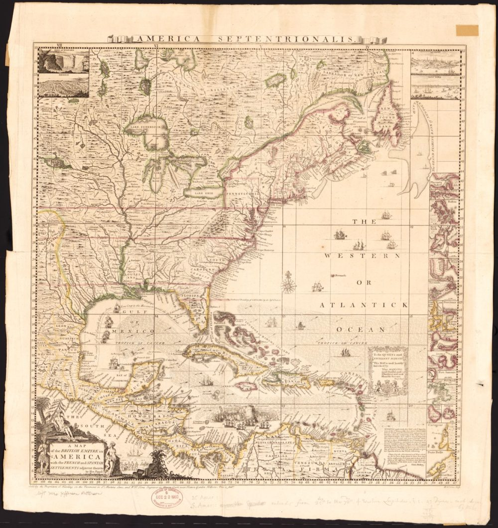 Primary Source Images British North America United States - Us map drawn by brits