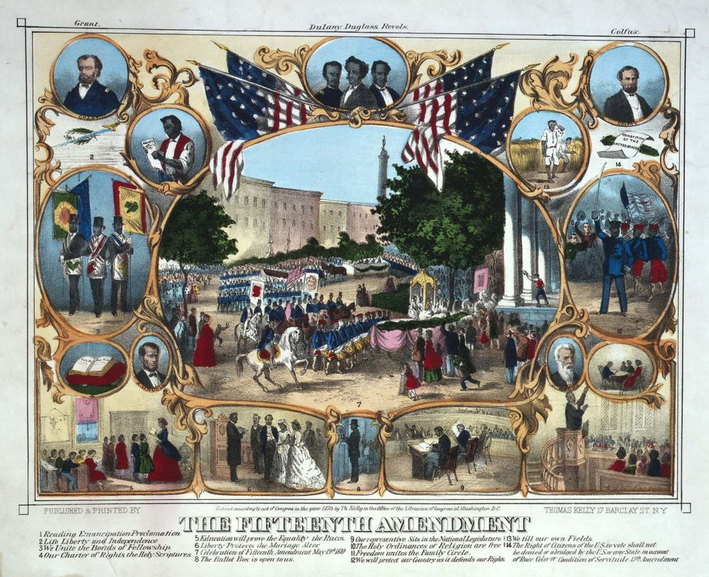 Painting depicting several important themes related to the fifteenth amendment. The print celebrates the military achievements of black veterans, the voting rights protected by the amendment, the right to marry and establish families, the creation and protection of black churches, and the right to own and improve land.
