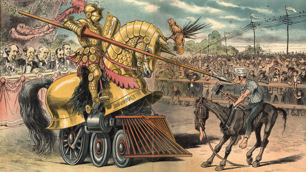 Image of jousting tournament between an impressively armored horse, with train wheels for legs, and an armored knight, fighting against a scrawny horse and jockey carrying a mallet.