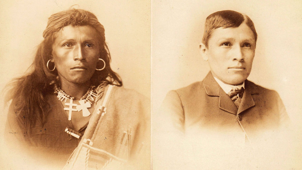 Photograph of Tom Torlino as he entered school on the left. He has dark, tanned skin, long hair, earrings, and is wearing traditional clothing. In the picture on the right, his skin is lighter, he has short hair, is wearing a suit, and looks modernized.