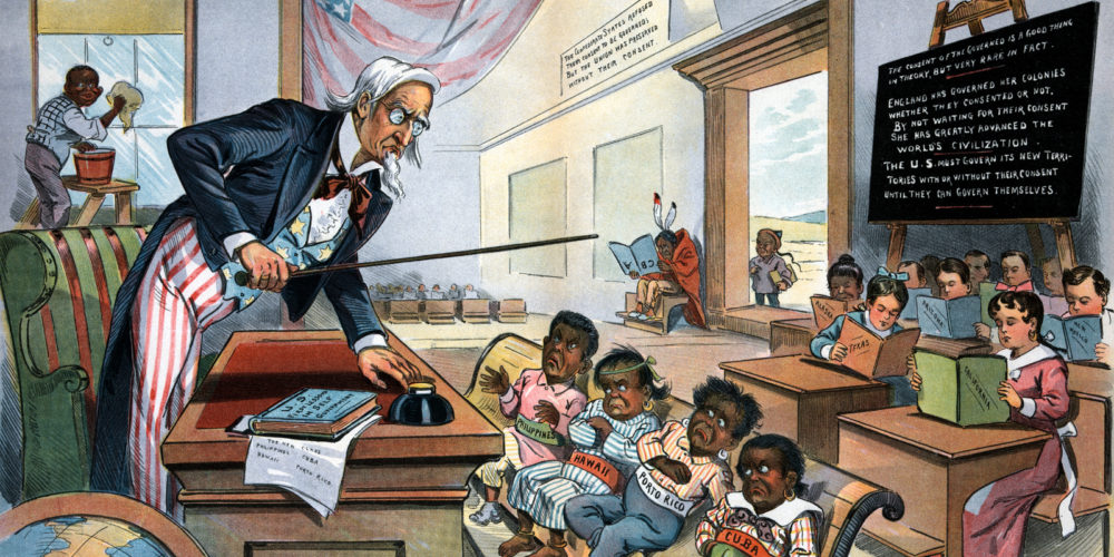 Painting of Uncle Sam teaching the rowdy students with dark skin (The Philippines, Hawaii, Puerto Rico, and, Cuba) in the front of the room while the other light-skinned students sit quietly in the back.