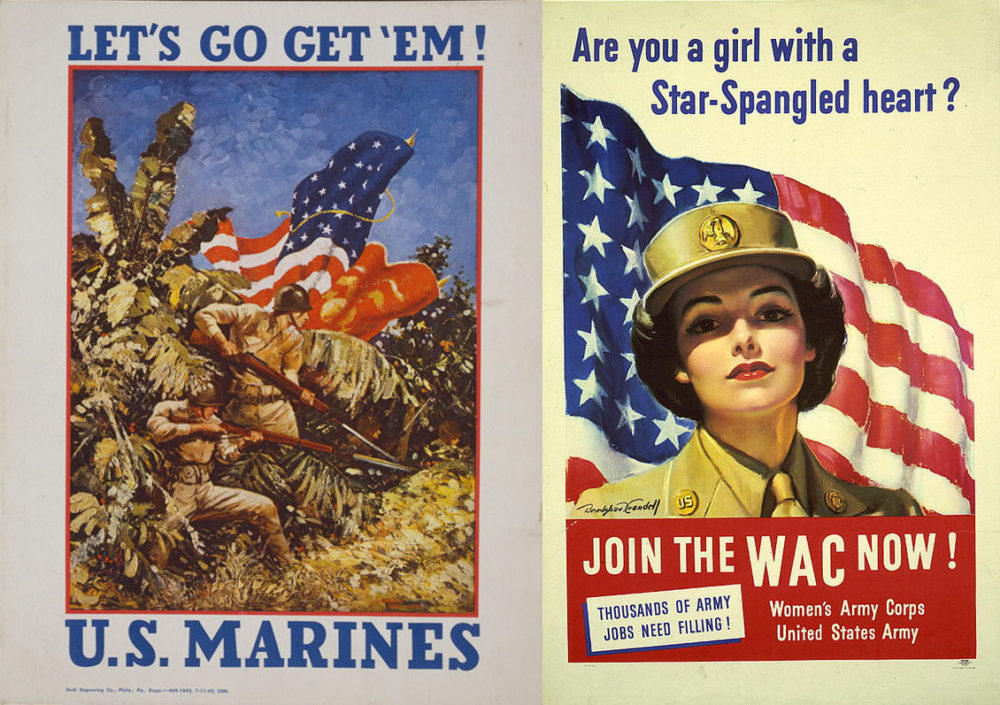 Recruiting posters for the U.S. Marines and the Women's Army Corps.