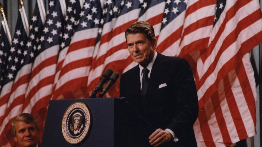 Reagan giving a speech.