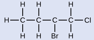 This structure shows a C atom bonded to the H atoms and another C atom. This second C atom is bonded to two H atoms and another C atom. This third C atom is bonded to a B r atom and another C atom. This fourth C atom is bonded to two H atoms and a C l atom.