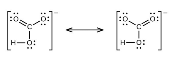 Two Lewis structures are shown, with a double-headed arrow in between, each surrounded by brackets and a superscripted negative sign. The left structure depicts a carbon atom bonded to three oxygen atoms. It is single bonded to one of these oxygen atoms, which has three lone pairs of electrons, and double bonded to the other two, which have two lone pairs of electrons. One of the double bonded oxygen atoms also has a single bond to a hydrogen atom. The right structure is the same as the first, but there is only one double bonded oxygen. The oxygen with the single bonded hydrogen now has a single bond to the carbon atom. The lone pairs of electrons have also changed to correspond with the bonds.