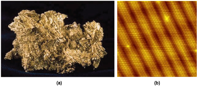 A two part image. Part a shows a Gold nugget. Part b shows a microscopic view of gold.