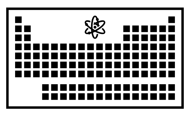 Graphic representation of the periodic table with black boxes for each element