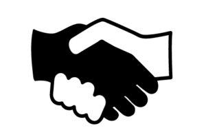 Icon of a black hand and white hand shaking