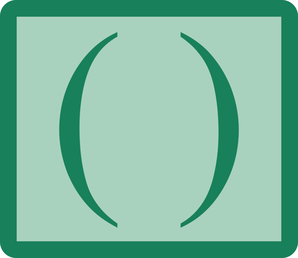 an icon showing opening and closing parentheses