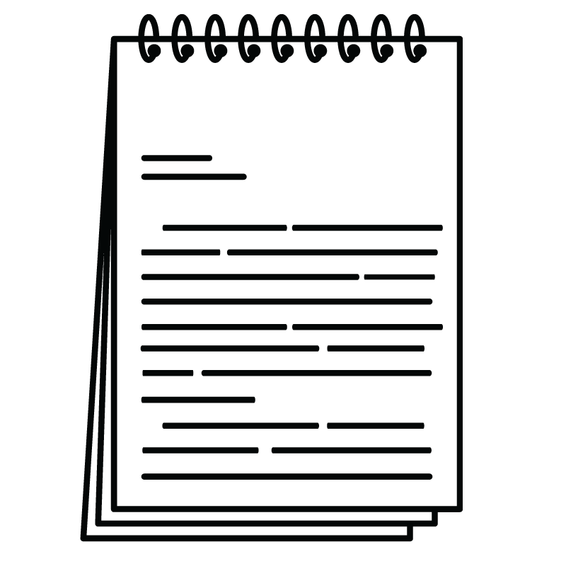 a note book with lines representing sentences of different lenghts.