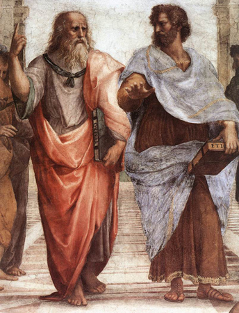 Figure (a) shows two ancient Greeks.