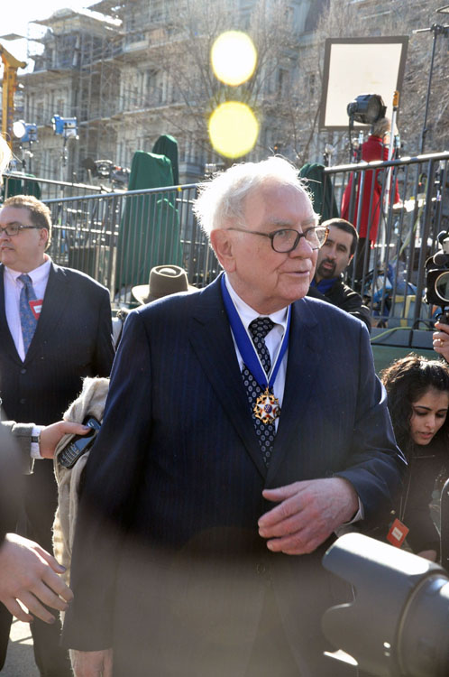 A photo of Warren Buffett.