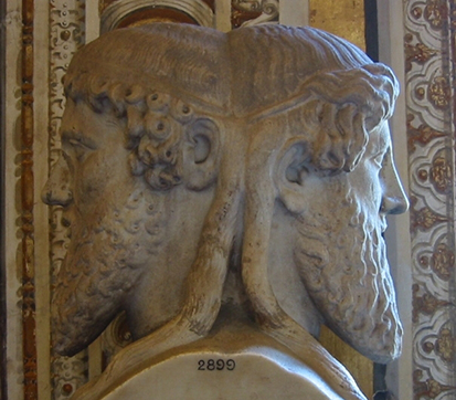 A photo of a statue of Janus
