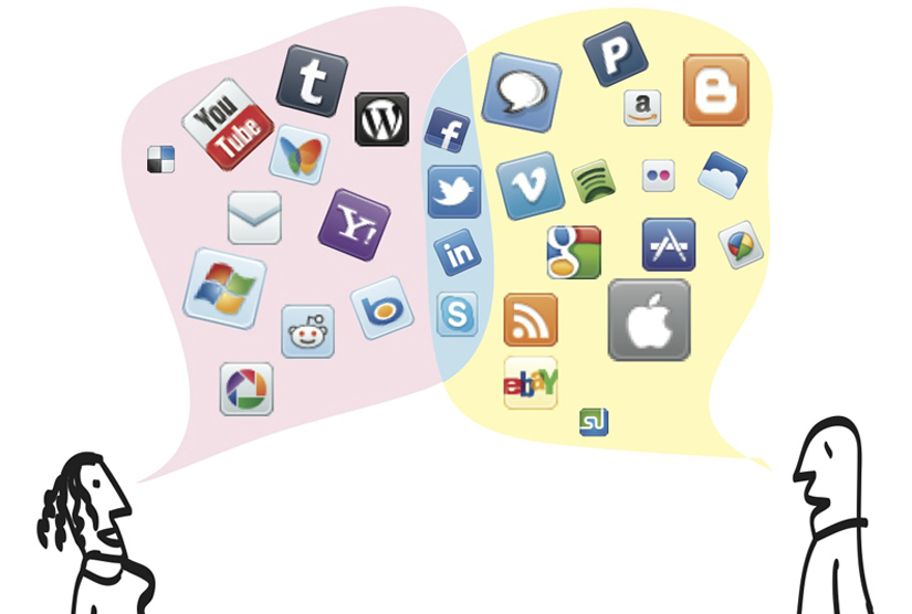 A collage of social media logos such as Twitter and Facebook
