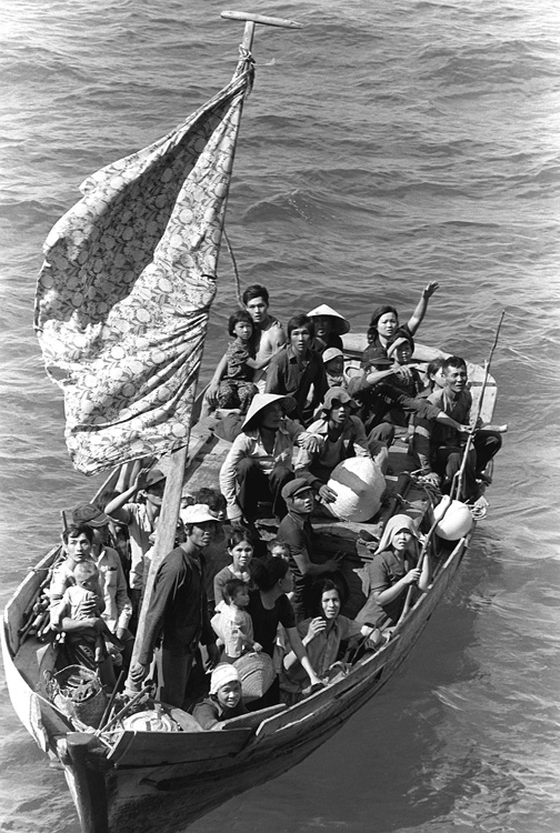 A boat containing Vietnamese refugees.