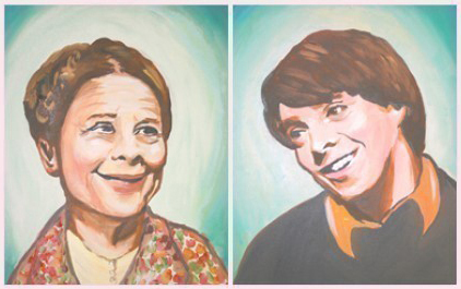 A diptych-style painting of the actors Ruth Gordon, an elderly woman (left), and Bud Cort, a young man (right), is shown.