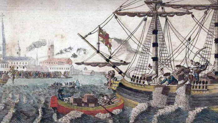 A painting of the Boston Tea Party.