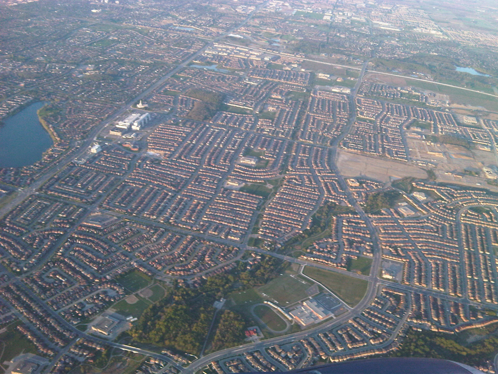 An aerial view of Toronto's suburbs is shown here.