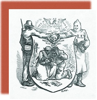 """An illustration shows a man labeled """"White League"""" shaking hands with a hooded figure labeled """"KKK."""" Their hands meet over a skull and crossbones. Below, a shield shows a black couple weeping over a baby. In the background, a schoolhouse burns, and a lynched freedman is shown hanging from a tree. Above the shield, which is labeled """"Worse than Slavery,"""" the text reads, """"The Union as it Was: This is a White Man's Government."""""""