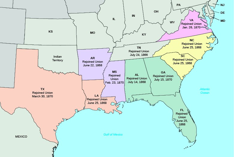 A map shows the five military districts established by the 1867 Military Reconstruction Act and the date each state rejoined the Union. Texas (Military District 5) rejoined the Union on March 30, 1870. Louisiana (Military District 5) rejoined the Union on June 25, 1868. Arkansas (Military District 4) rejoined the Union on June 22, 1868. Mississippi (Military District 4) rejoined the Union on February 23, 1870. Alabama (Military District 3) rejoined the Union on July 14, 1868. Georgia (Military District 3) rejoined the Union on July 15, 1870. Florida (Military District 3) rejoined the Union on June 25, 1868. Tennessee rejoined the Union on July 24, 1866. South Carolina (Military District 2) rejoined the Union on June 25, 1868. North Carolina (Military District 2) rejoined the Union on June 25, 1868. Virginia (Military District 1) rejoined the Union on January 26, 1870.