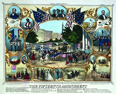 """An illustration depicts a series of scenes and portraits, shown in gilded frames and surrounded by American flags, relating to black rights and the passage of the Fifteenth Amendment. A large central scene shows the parade celebrating the Fifteenth Amendment's passage. In the upper corners, portraits of Ulysses S. Grant and Schuyler Colfax are shown. Other scenes include a black man reading the Emancipation Proclamation; three black men with Masonic paraphernalia (labeled """"We Unite in the Bonds of Fellowship with the Whole Human Race""""); a Bible (labeled """"Our Charter of Rights""""); a black classroom scene (labeled """"Education Will Prove the Equality of the Races""""); a black pastor preaching to a congregation (labeled """"The Holy Ordinances of Religion Are Free""""); two free blacks tilling their own fields; a black officer commanding his troops (labeled """"We Will Protect Our Country as It Defends Our Rights""""); a black man reading to his family (labeled """"Freedom Unites the Family Circle""""); a black wedding ceremony (labeled """"Liberty Protects the Marriage Alter""""); a black man voting (labeled """"The Ballot Box Is Open To Us""""); and Hiram Revels in the House of Representatives (labeled """"Our Representative Sits in the National Legislature""""). Other individual portraits include Abraham Lincoln, Hiram Revels, Martin Delany, Frederick Douglass, and John Brown."""