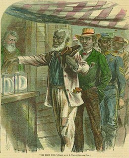 An illustration shows an elderly black man casting his ballot. Behind him is a line of black men, one of whom wears a military uniform, awaiting their turn.