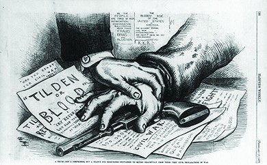 """A cartoon shows a man's hand covering a gun on a table; another man's hand covers his. Beneath the gun, papers are visible with the words """"Tilden or Blood,"""" """"Are You Ready for Civil War?"""" and """"Tilden or a Fight."""" Beneath the cartoon, a caption reads """"A truce—not a compromise, but a chance for high-toned gentlemen to retire gracefully from their very civil declarations of war."""""""