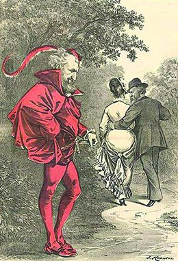 """A cartoon shows Roscoe Conkling dressed as the devil, while Hayes walks off with his arm around a woman's waist. The caption reads: """"Unto that Power he doth belong Which only doeth Right while ever willing Wrong."""""""