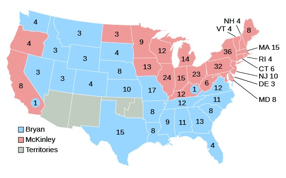 A map shows the votes of the Electoral College in the 1896 election.