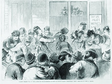 """An illustration shows the women of the temperance movement holding an open-air prayer meeting in front of an Ohio saloon. A sign outside the saloon reads """"Dotze Ales Wines."""""""