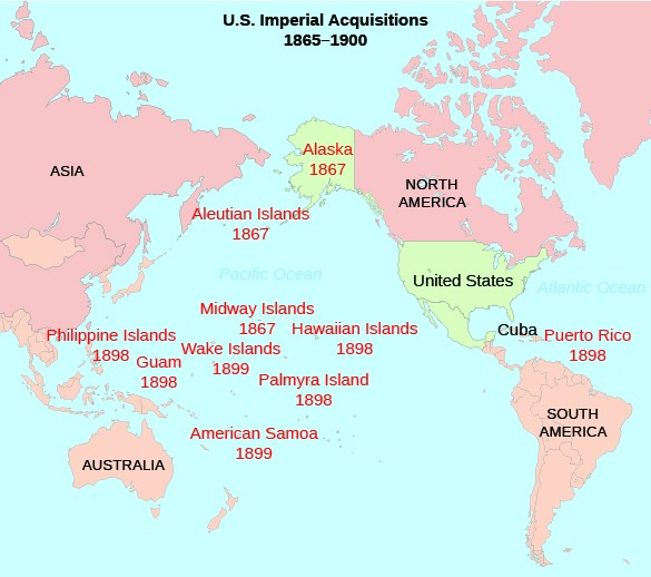 A map shows American imperial acquisitions as of the end of the Spanish-American War in 1898. Labeled on the map are Alaska (1867), the Aleutian Islands (1867), the Philippine Islands (1898), Guam (1898), the Midway Islands (1867), the Wake Islands (1899), American Samoa (1899), Palmyra Island (1898), the Hawaiian Islands (1898), and Puerto Rico (1898).