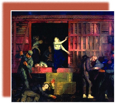 A painting depicts German soldiers unloading a group of ailing prisoners from a boxcar. A German soldier prepares to strike one man, who lies on the ground, with the butt of a rifle; the prisoner holds a hand up in defense, while a young woman exiting the boxcar watches in horror. Inside the boxcar, an elderly man holds up an ill young woman. Another woman sits on the ground holding a child.