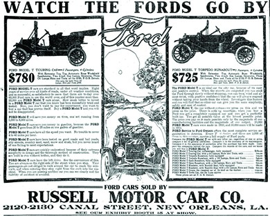 "An advertisement entitled ""Watch the Fords Go By"" features drawings of two Ford automobiles. The prices are listed at $780 and $725, along with details about each model. In the center of the advertisement, an illustration shows a couple driving along an idyllic country road. At the bottom is the text ""Ford Cars Sold by Russell Motor Car Co. 2120-2130 Canal Street, New Orleans, LA. See Our Exhibit Booth at Show."""