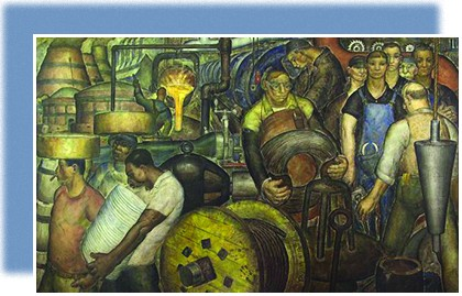 A mural shows a group of male workers engaged in a variety of manufacturing tasks.