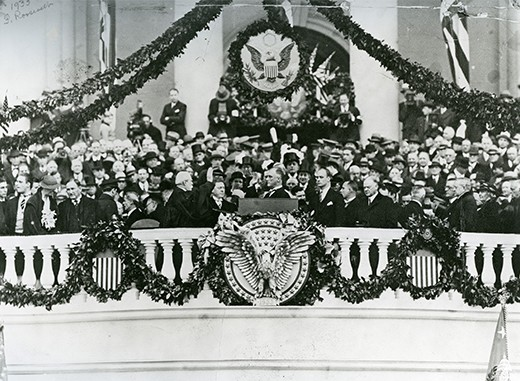 A photograph shows Franklin Roosevelt speaking at his inauguration at the U.S. Capitol, surrounded by supporters.