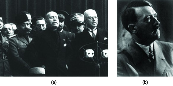 Photograph (a) shows Benito Mussolini surrounded by officials. Photograph (b) is a portrait of Adolf Hitler.