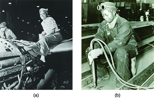 Photograph (a) shows an African American woman posing on the wing of the aircraft on which she is working. Photograph (b) shows an African American woman doing mechanical work in a shipyard.