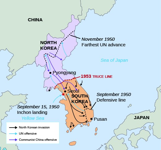 A map of North and South Korea, bordered by China to the north, the Yellow Sea to the west, the Sea of Japan to the east, and Japan to the southeast, is shown. Purple arrows show the North Korean invasion of South Korea in 1950; green arrows show the UN offensive response and the site of the landing at Inchon on September 15, 1950, and orange arrows should the Communist Chinese offensive. A dotted orange line shows the truce line of 1953. A grey dotted line shows the UN defensive line in September 1950, and a dotted green line shows the northern-most UN advance in November 1950.